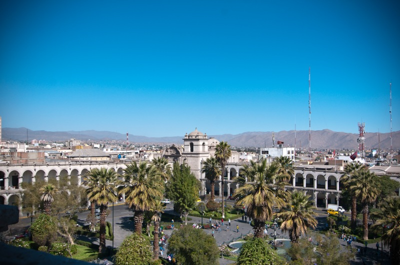 在屋頂上一邊望到Plaza de Armas